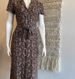 Shortsleeve Button Front Maxi Dress