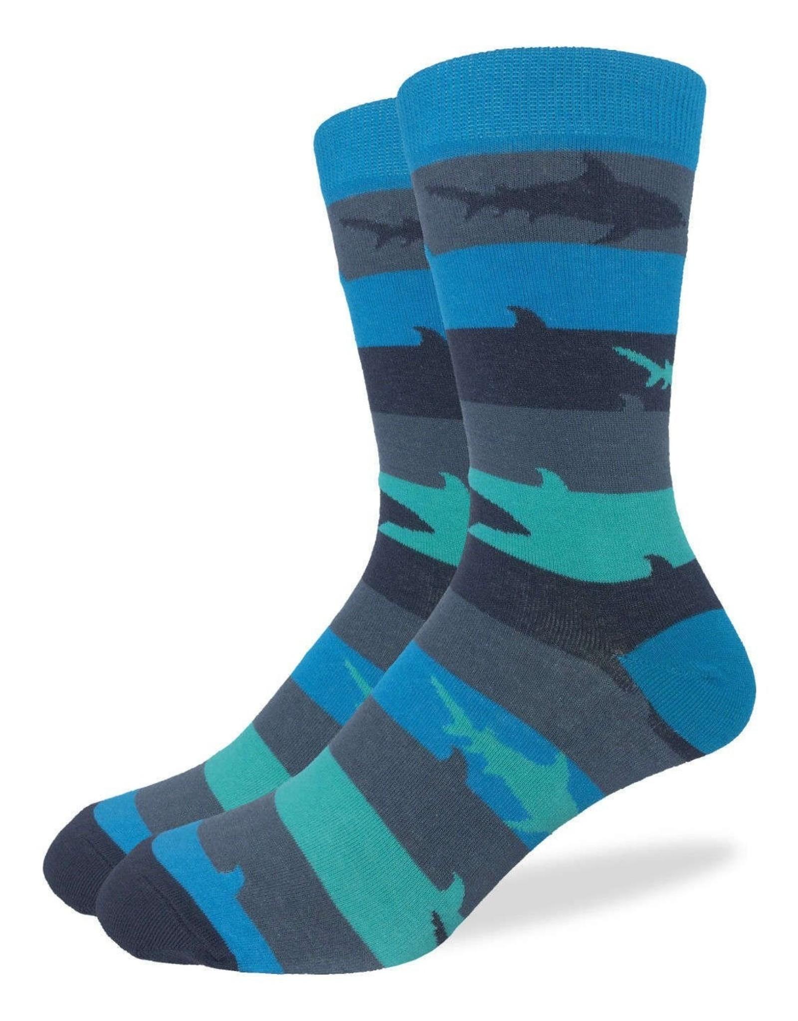 Good Luck Sock Men's Aqua Shark Week Socks