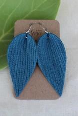 Weave Leaf Leather Earrings