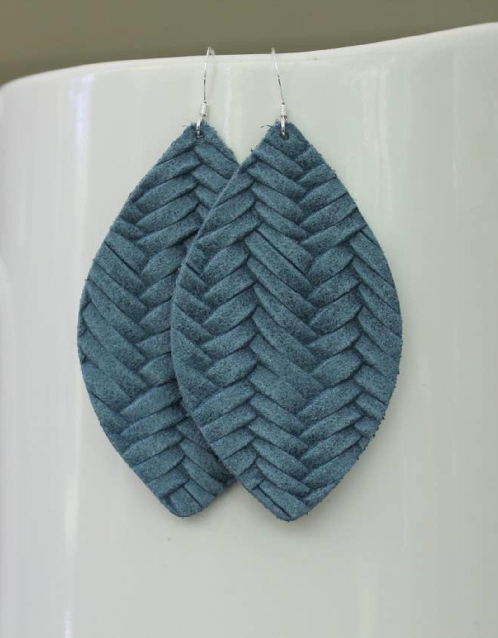 Braided Petal Leather Earrings