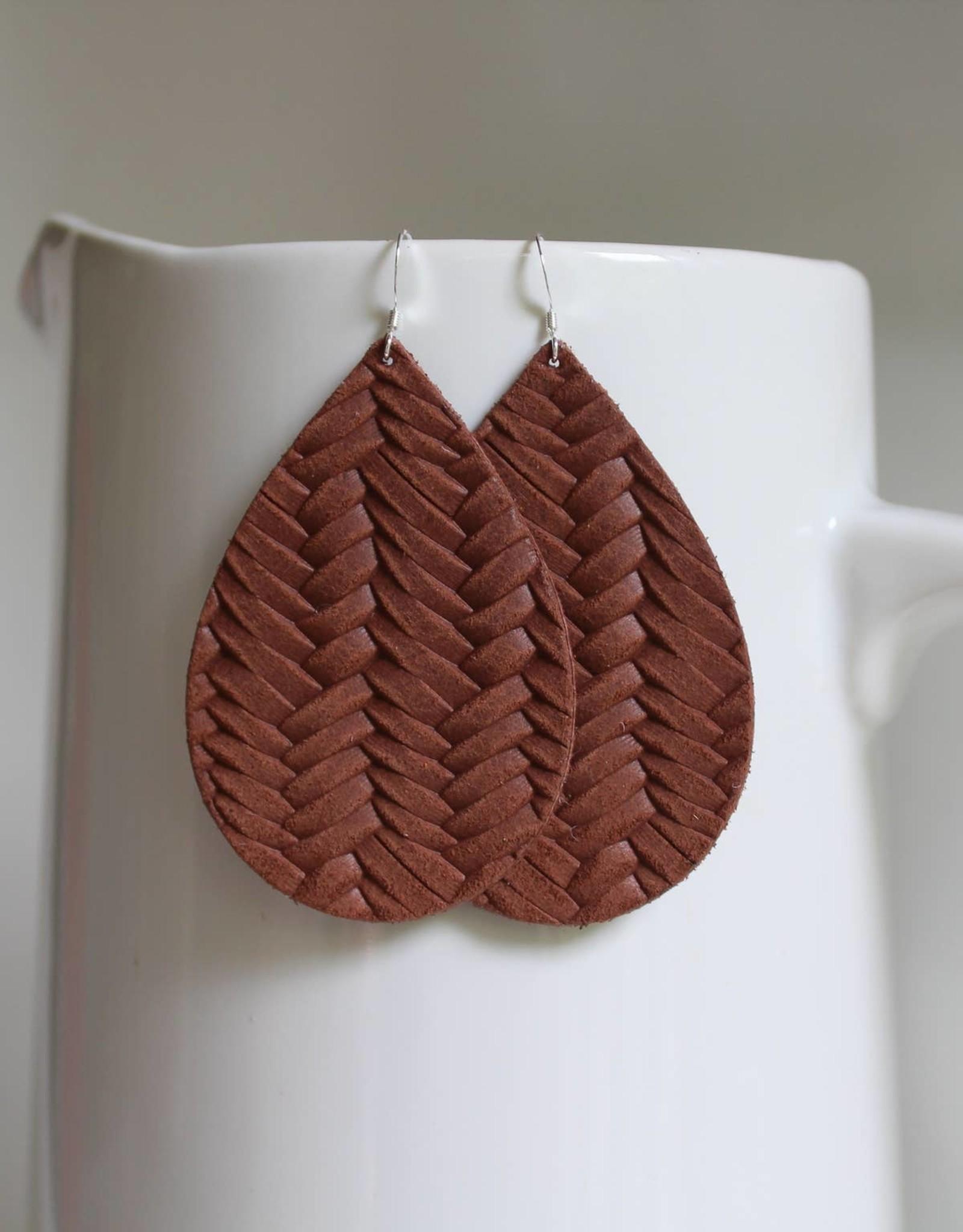Braided Teardrop Leather Earrings
