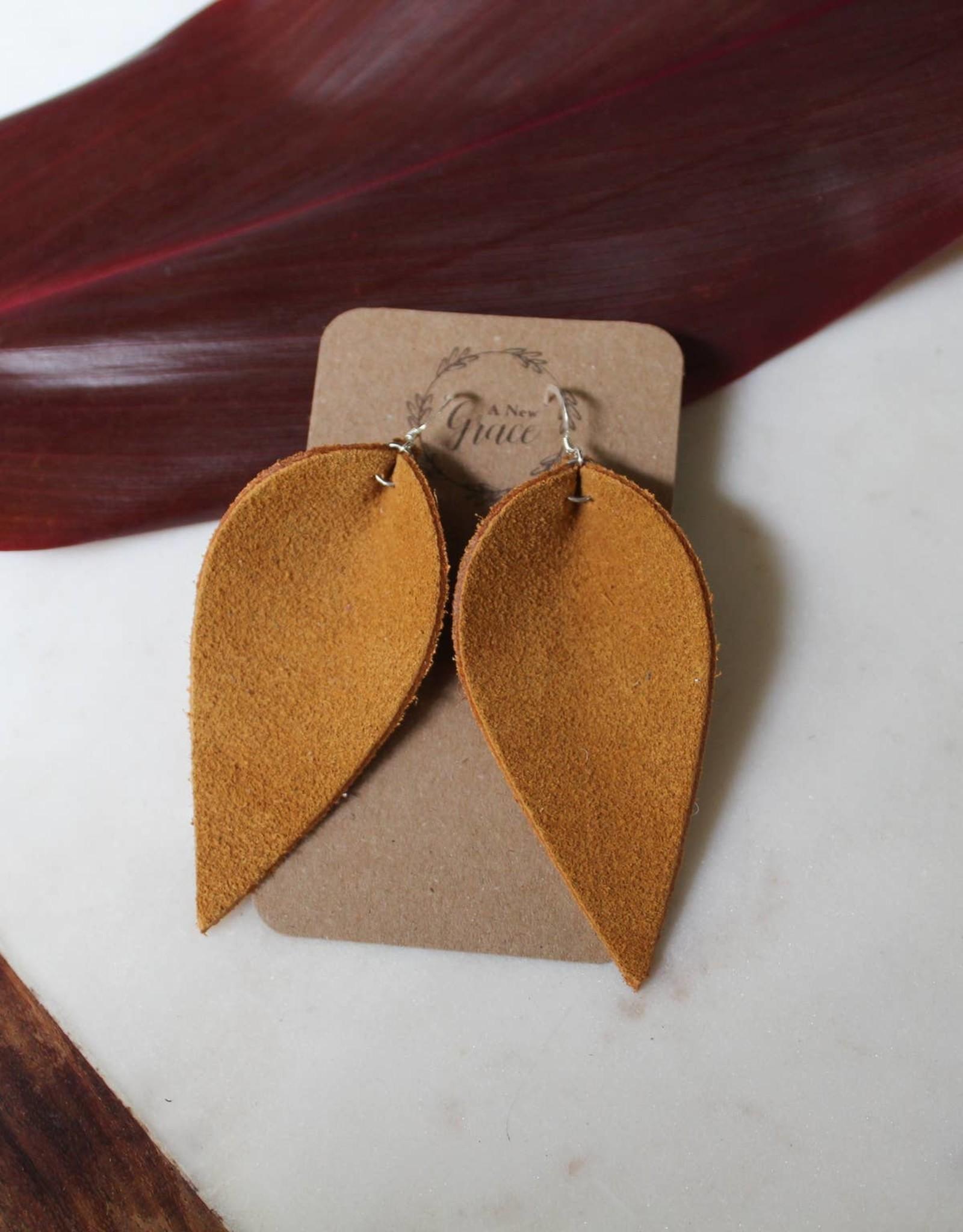 Suede Leaf Earrings