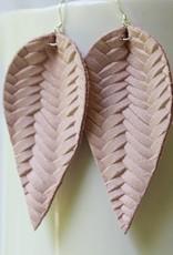 Braided Leaf Leather Earrings