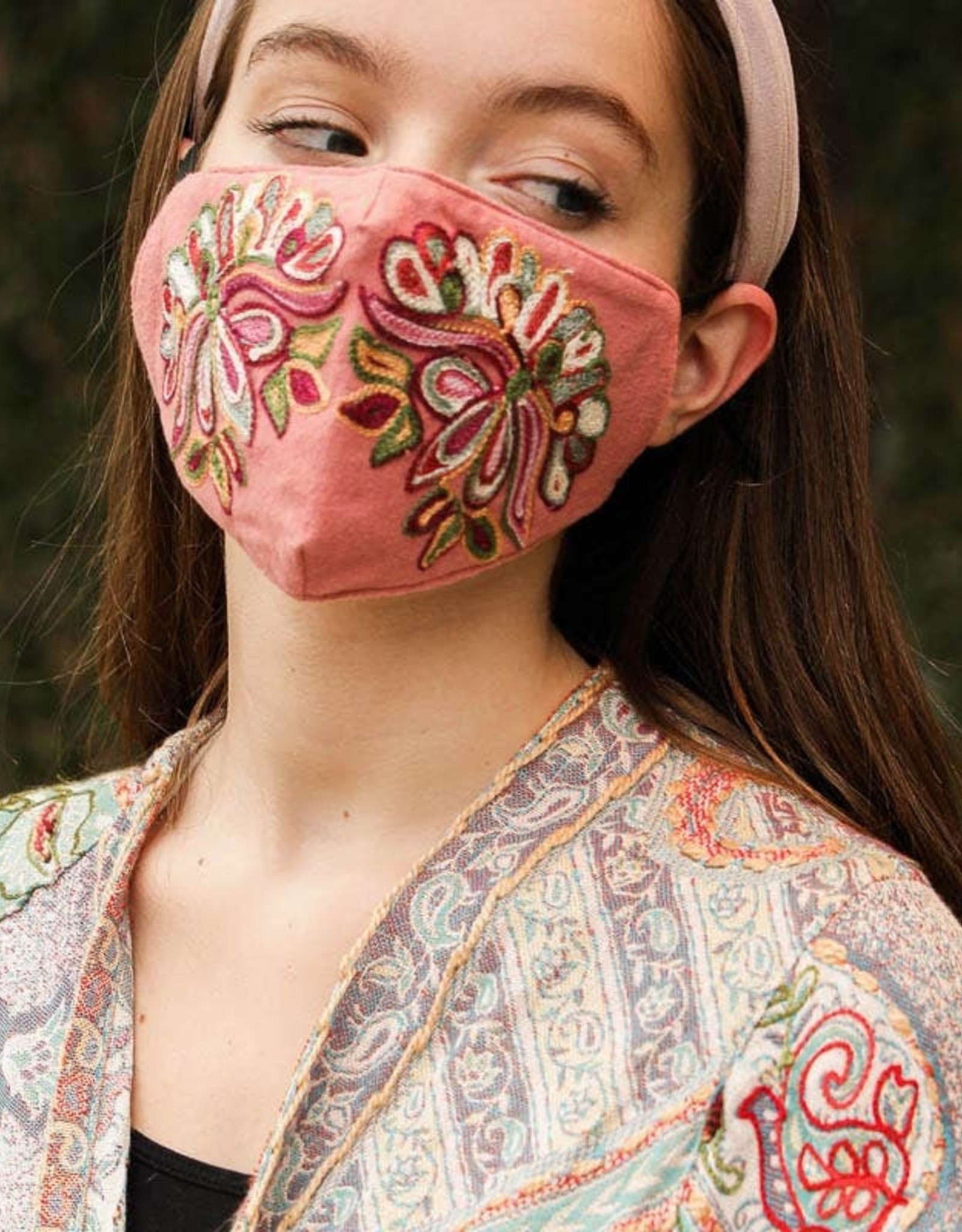 Pink Suede Embroidered Mask