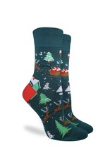Good Luck Sock Men's Santa on a Sled Socks