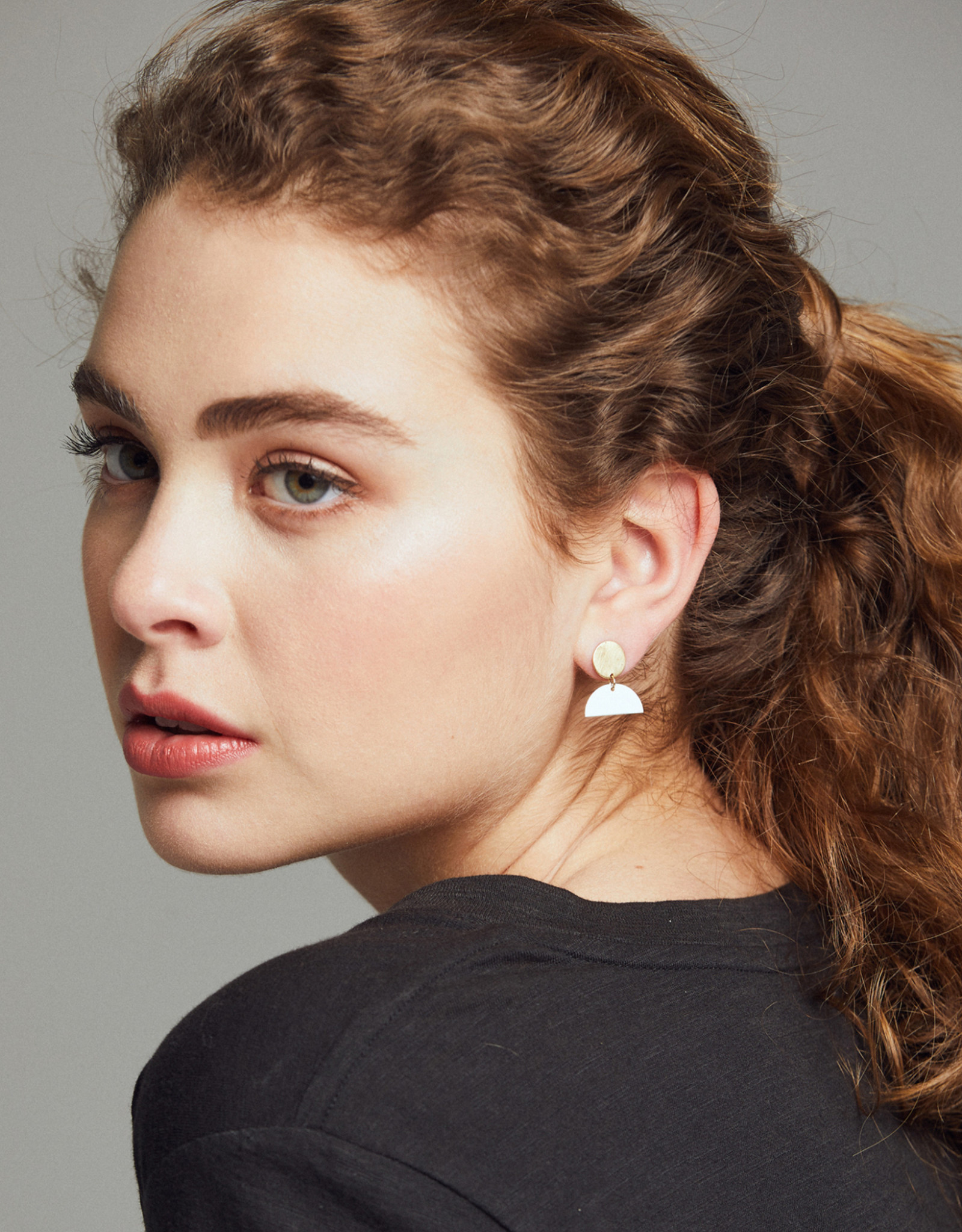 Able Mini Cleo Two Tone Earrings