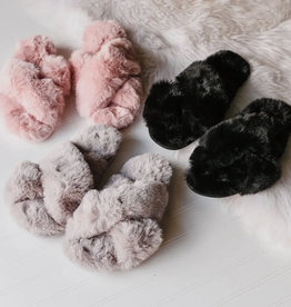 Fuzzy Cross Band Slide Slippers