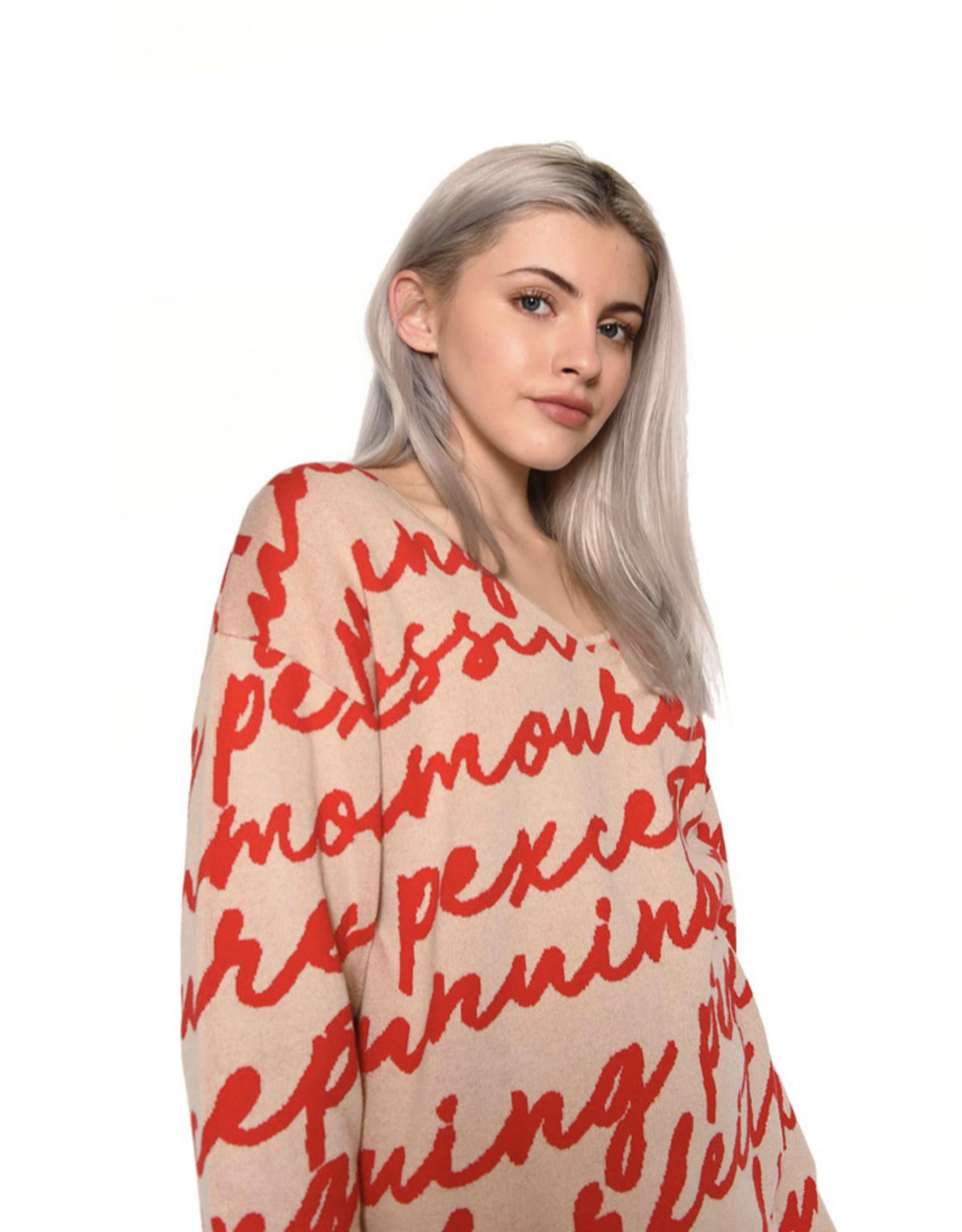 Glamorous Scribble Intarsia Sweater