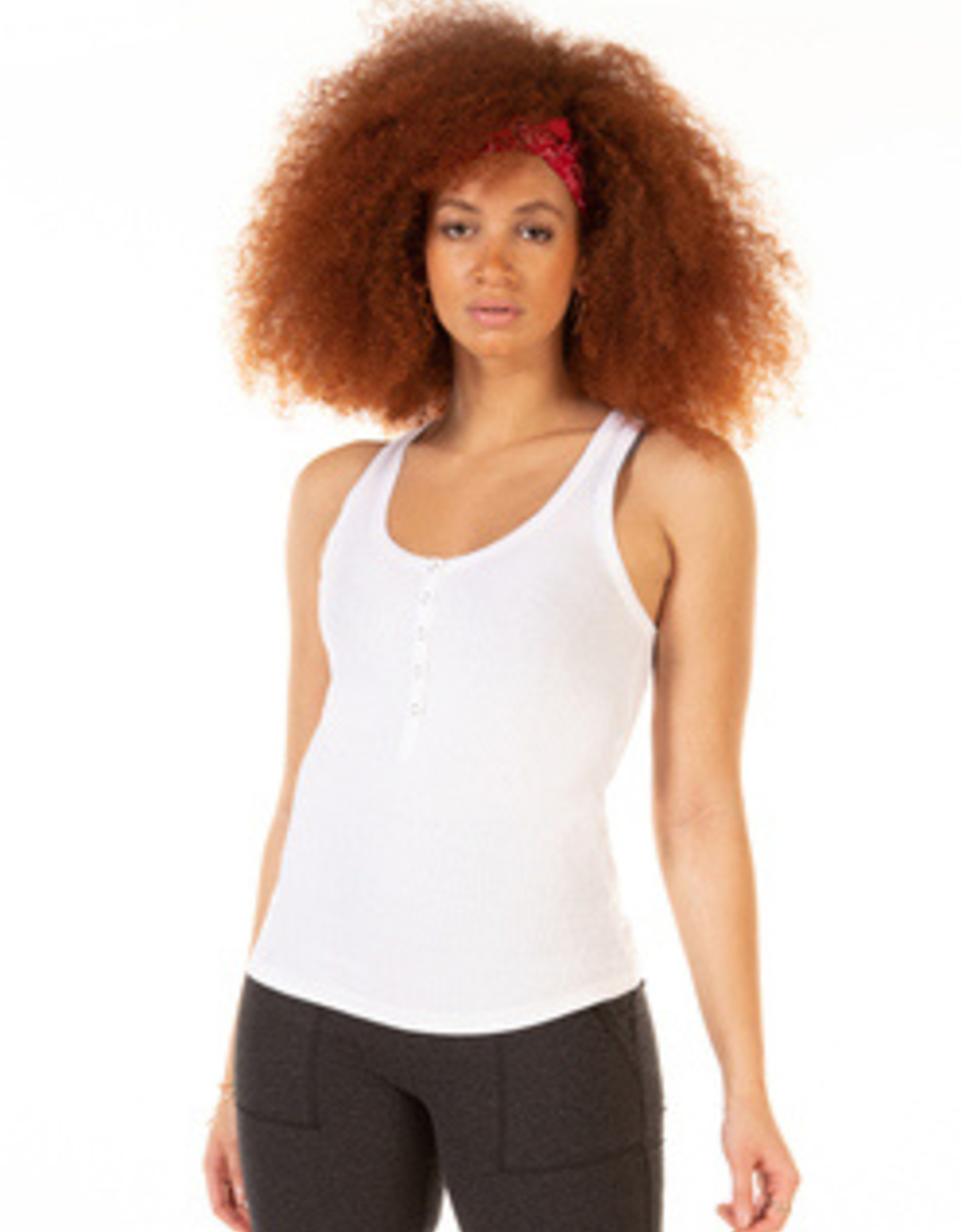 Scoop Henley Ribbed Tank