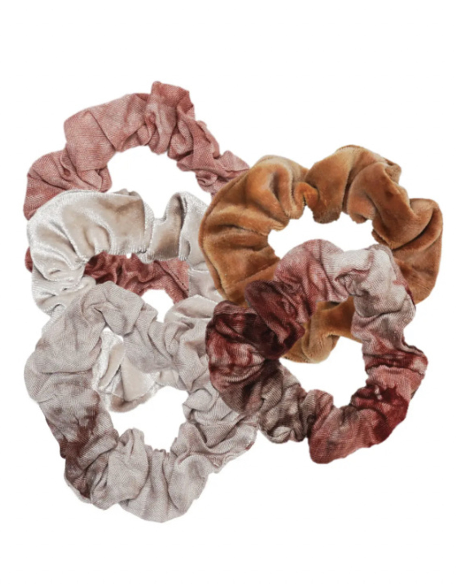 Rust Tie Dye Scrunchies, pack of 4