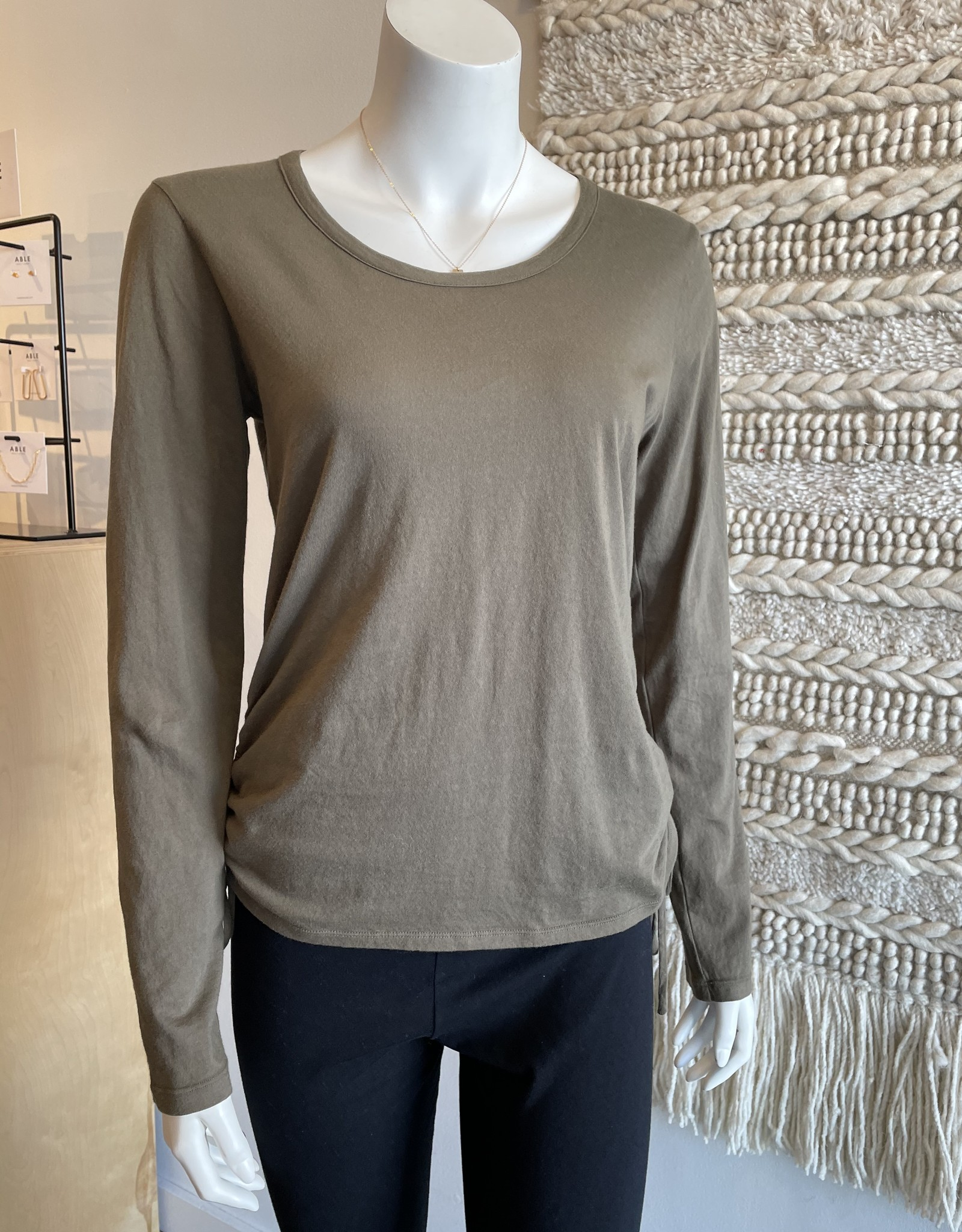 Bobi Long Sleeve Side Shirred Top