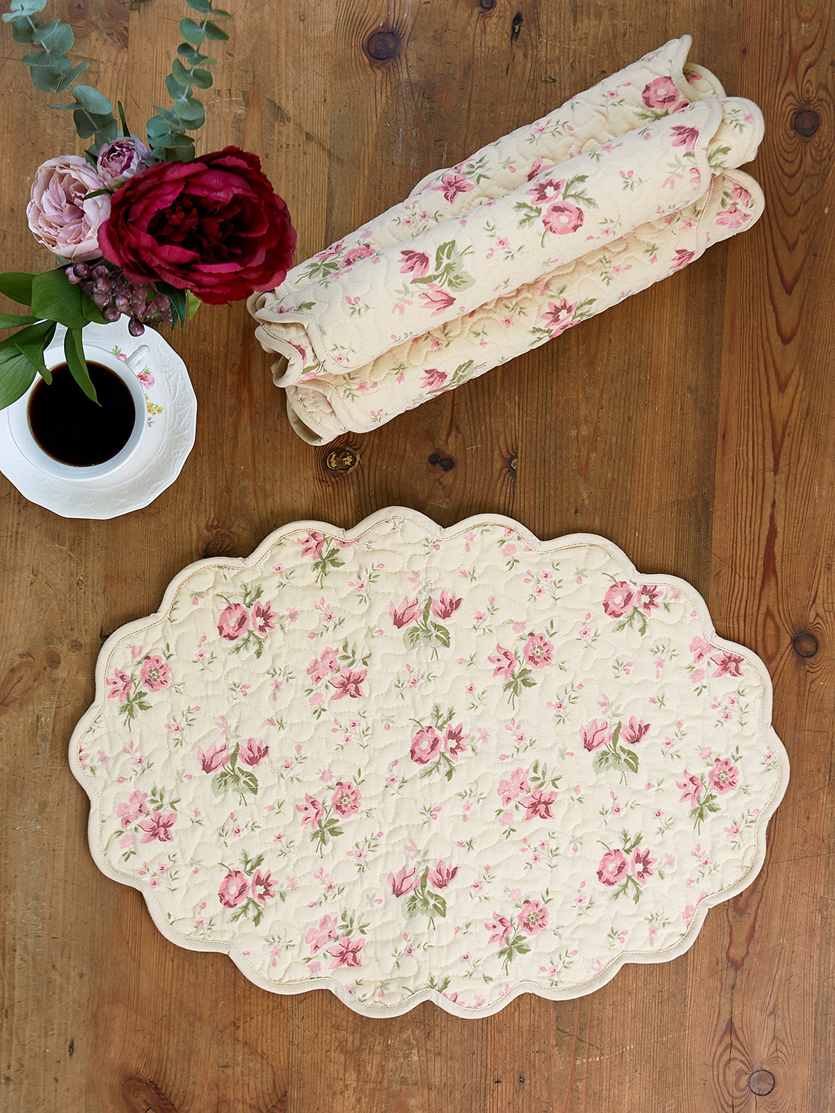 APRIL CORNELL QUILTED PLACMATS  IN ANTIQUE- SET OF 4-1