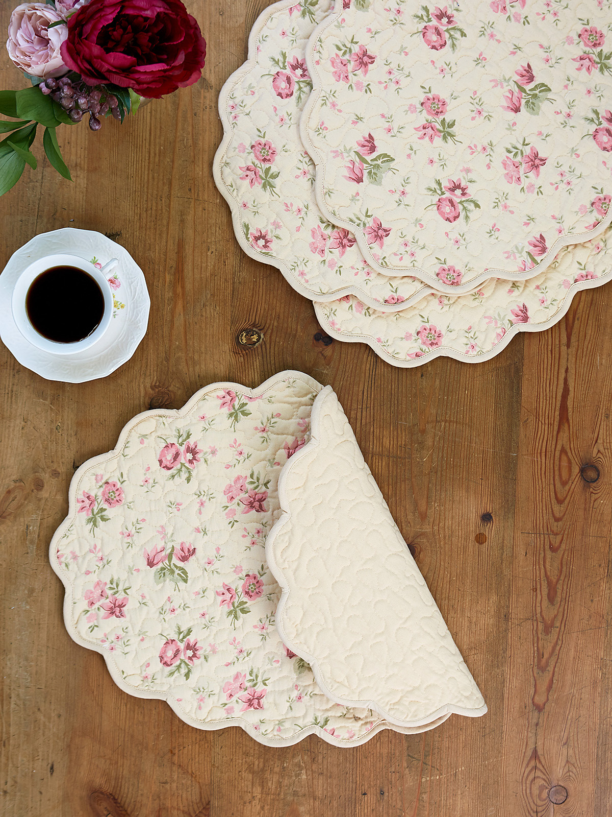 APRIL CORNELL QUILTED PLACMATS  IN ANTIQUE- SET OF 4-2