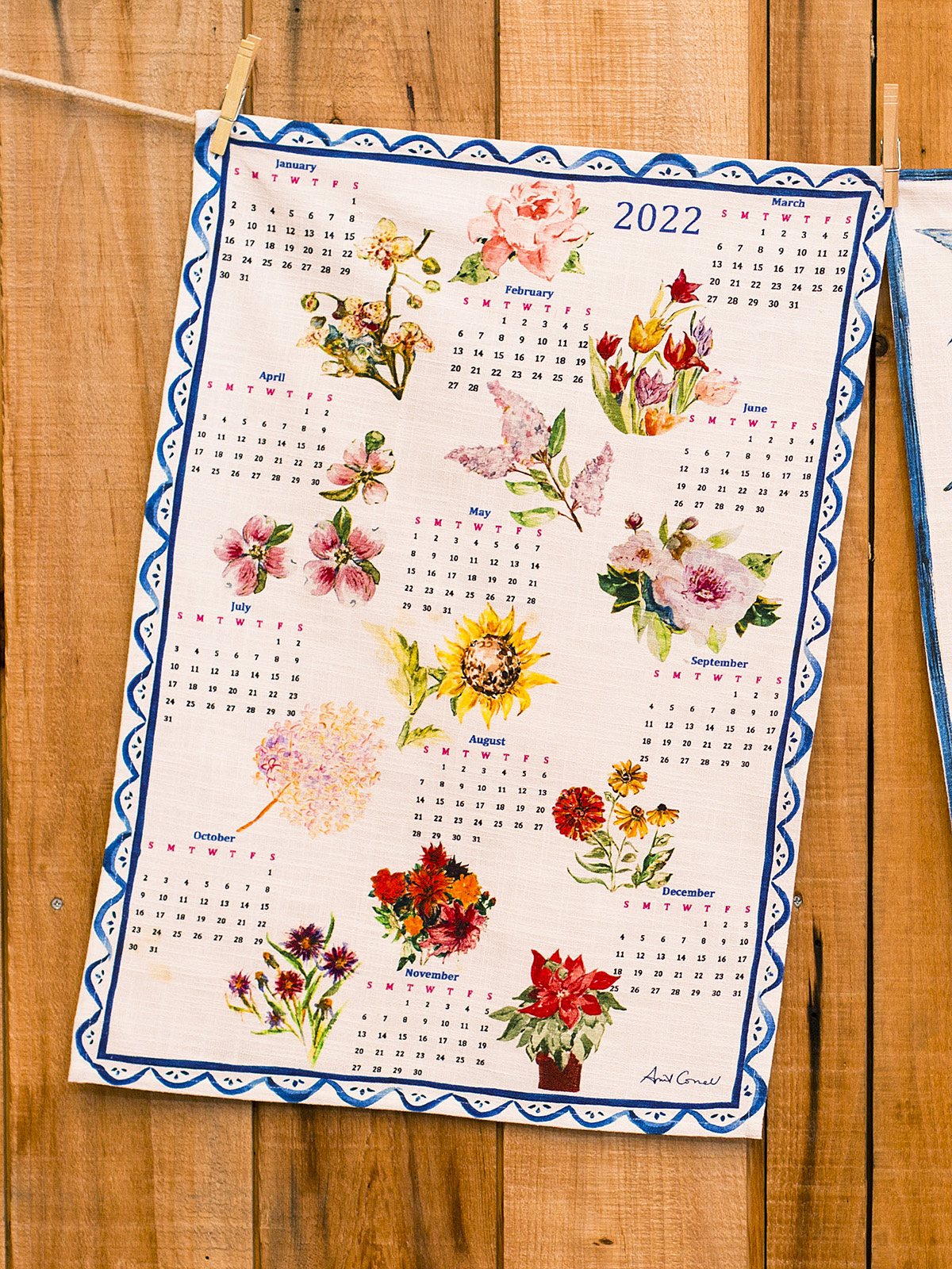 APRIL CORNELL A YEAR IN FLOWERS TEA TOWEL-1