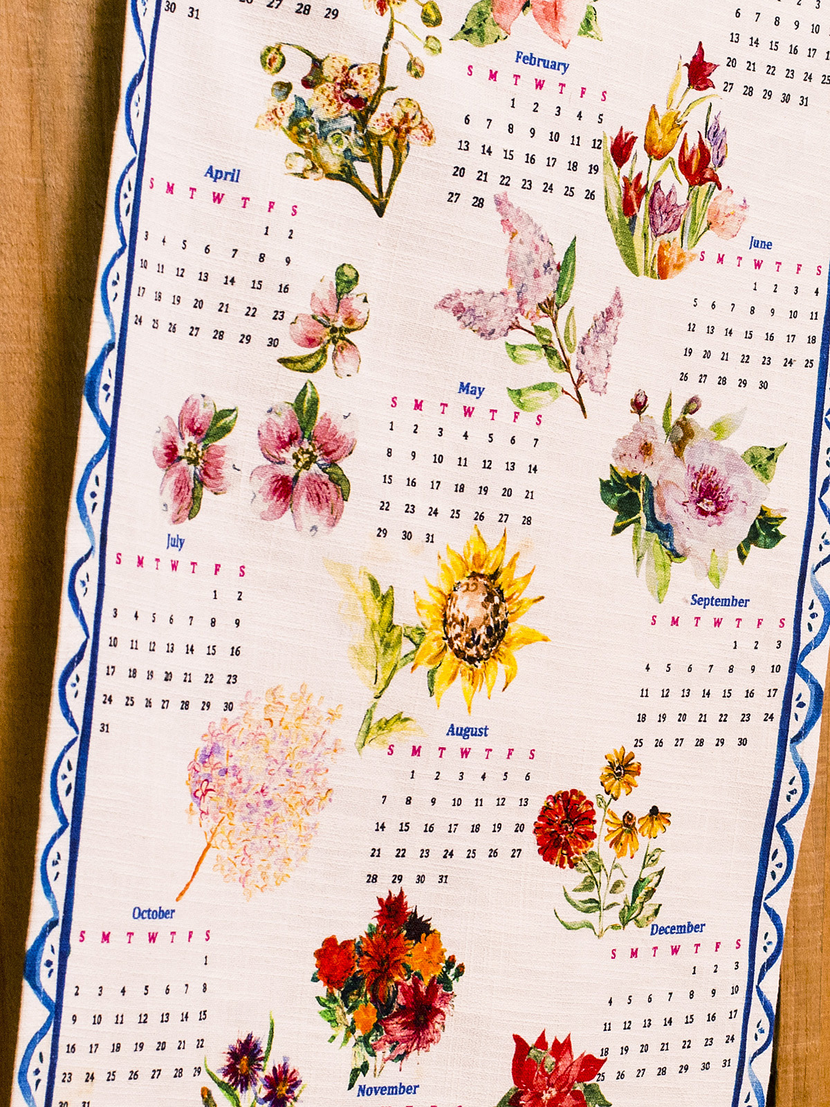 APRIL CORNELL A YEAR IN FLOWERS TEA TOWEL-2