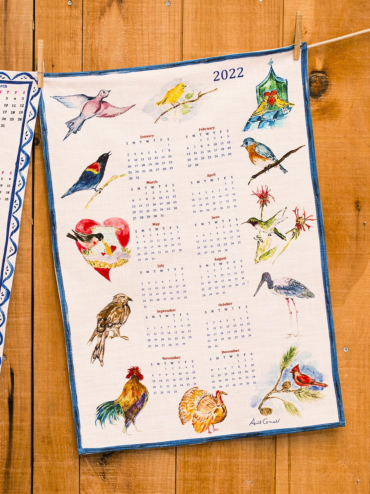 APRIL CORNELL A YEAR IN BIRDS TEA TOWEL-1