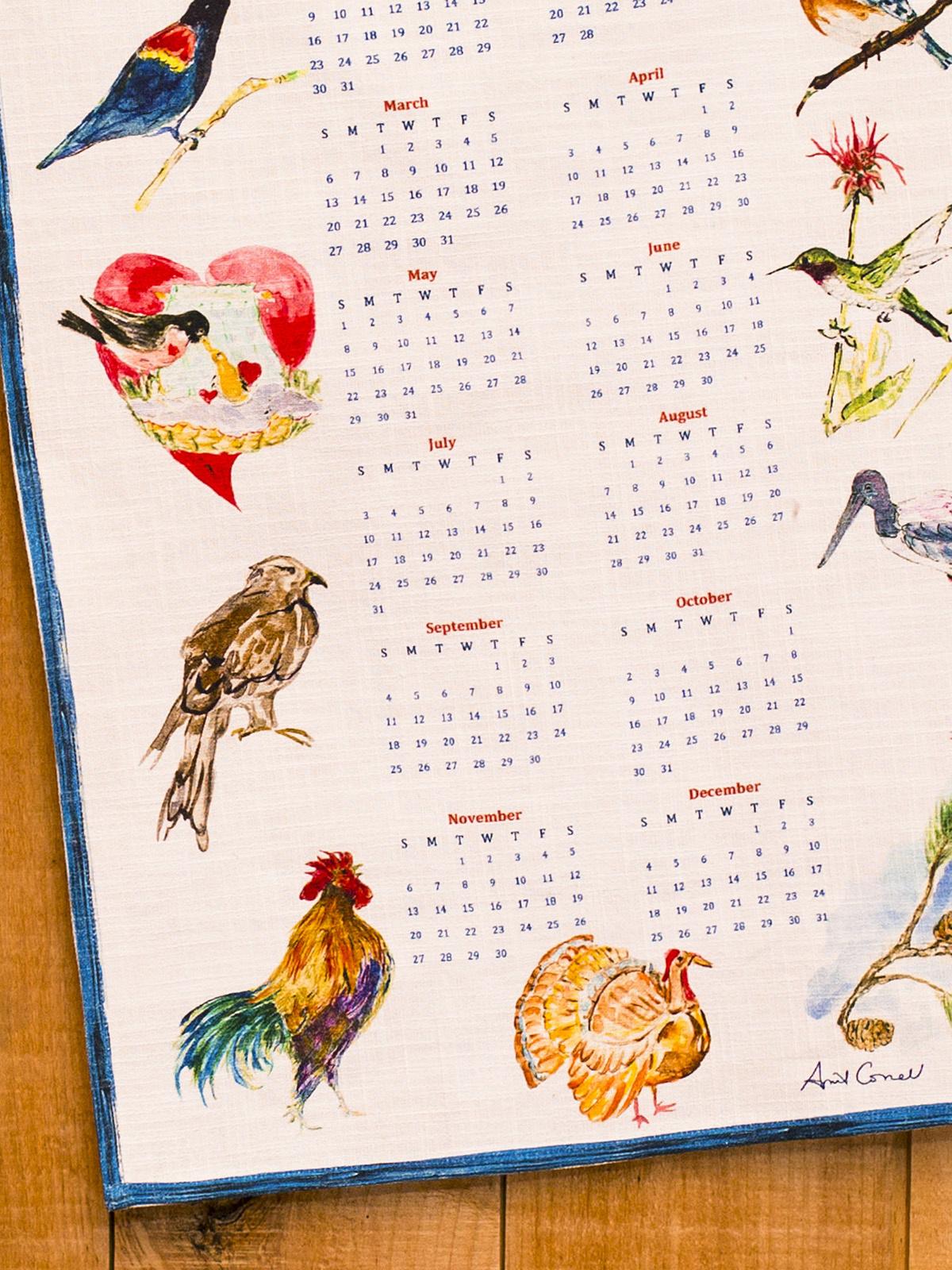 APRIL CORNELL A YEAR IN BIRDS TEA TOWEL-2