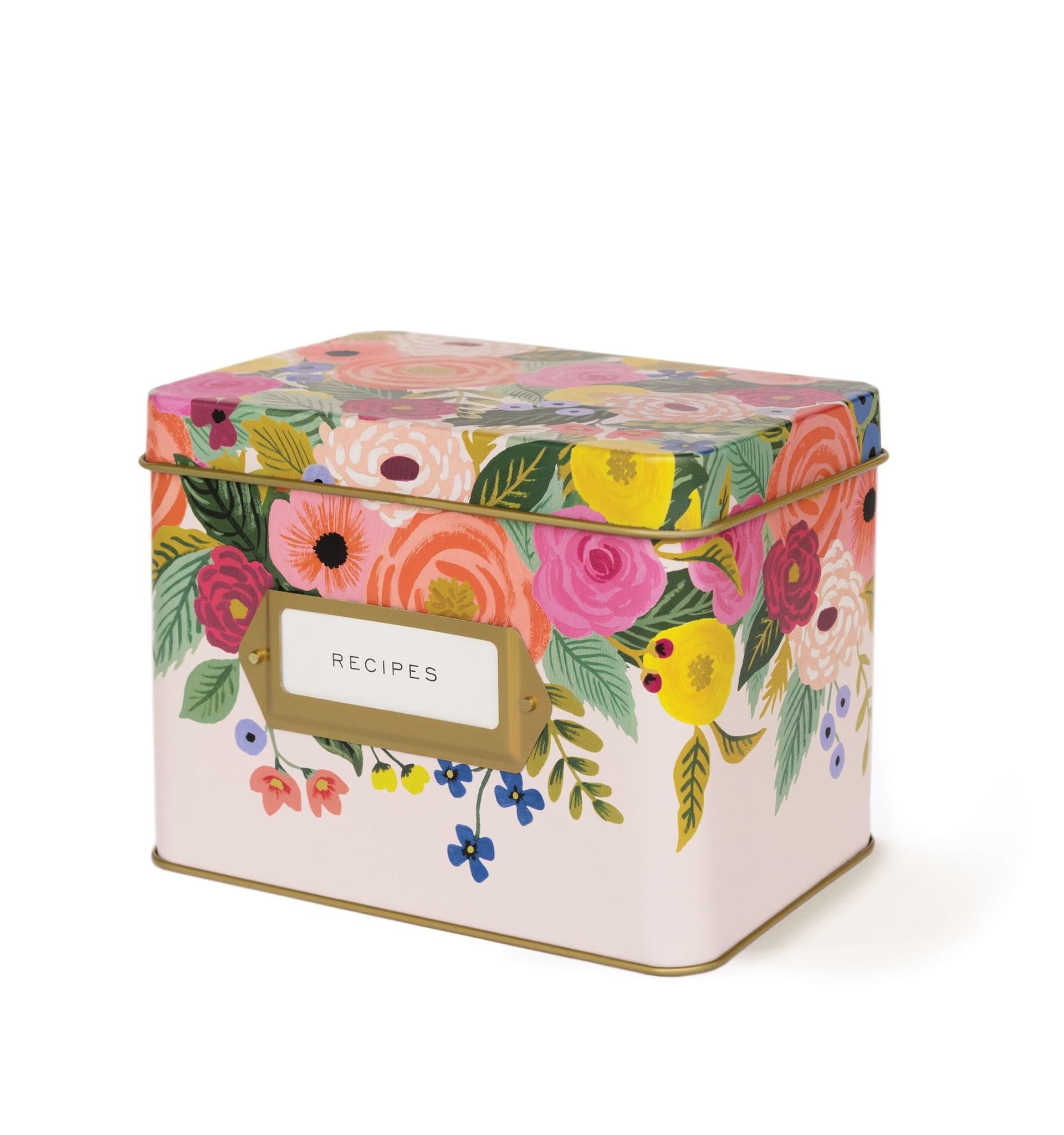 RIFLE PAPER COMPANY'S  JULIET ROSE TIN RECIPE BOX-1