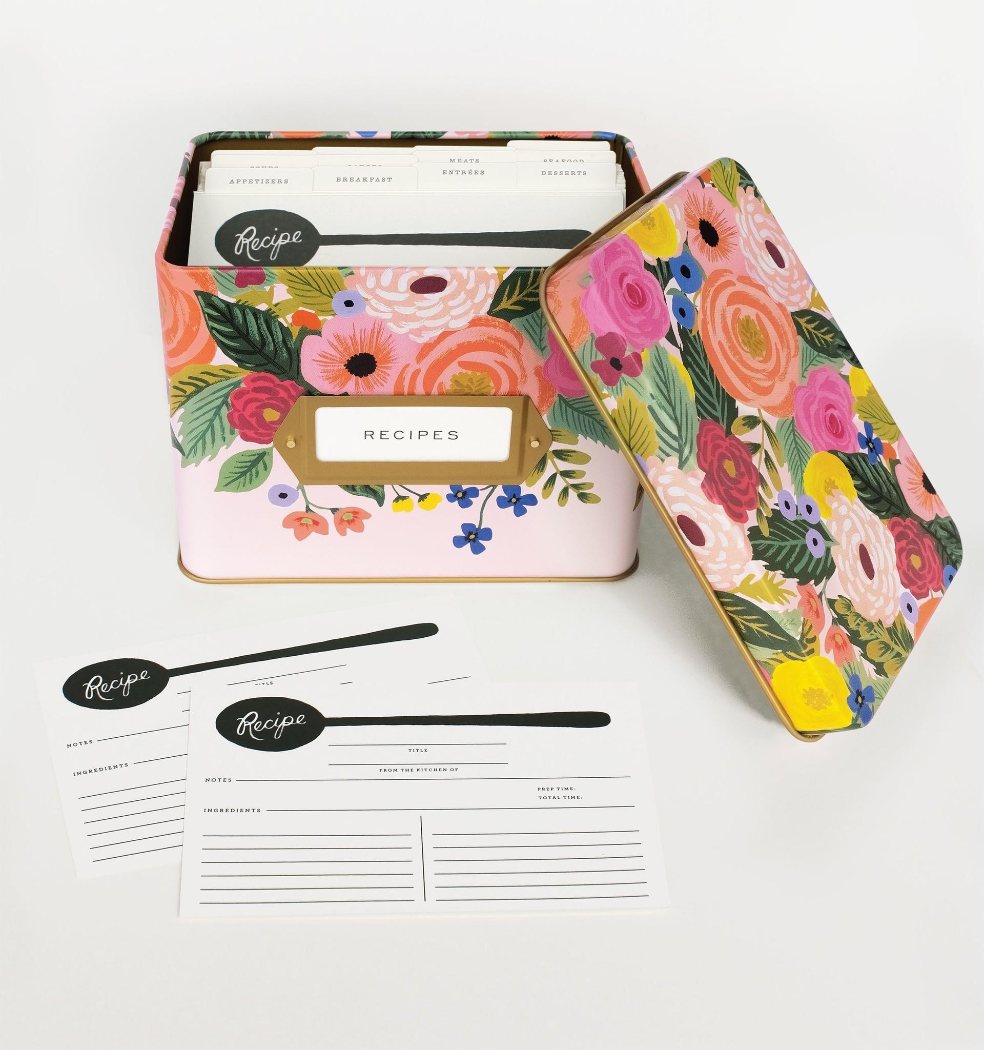 RIFLE PAPER COMPANY'S  JULIET ROSE TIN RECIPE BOX-2
