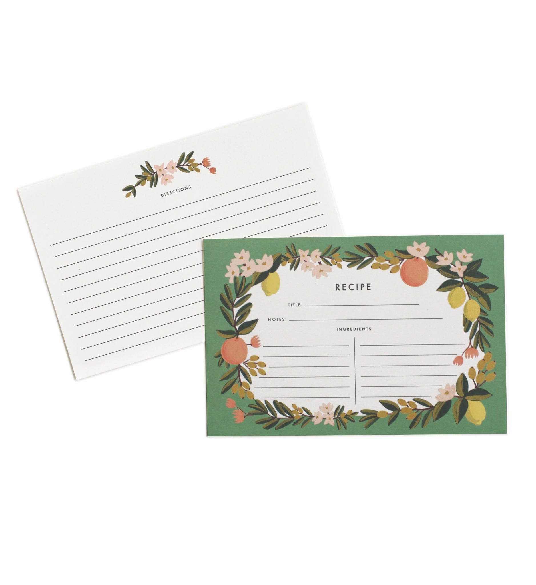 RIFLE PAPER COMPANY'S CITRUS FLORAL RECIPE CARDS - PACK OF 12-1
