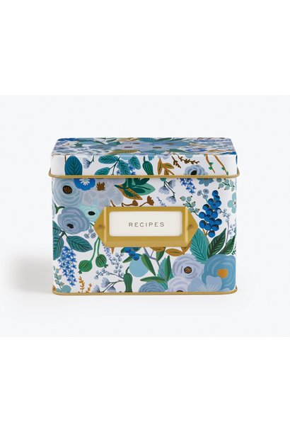 RIFLE PAPER COMPANY'S GARDEN PARTY BLUE TIN RECIPE BOX