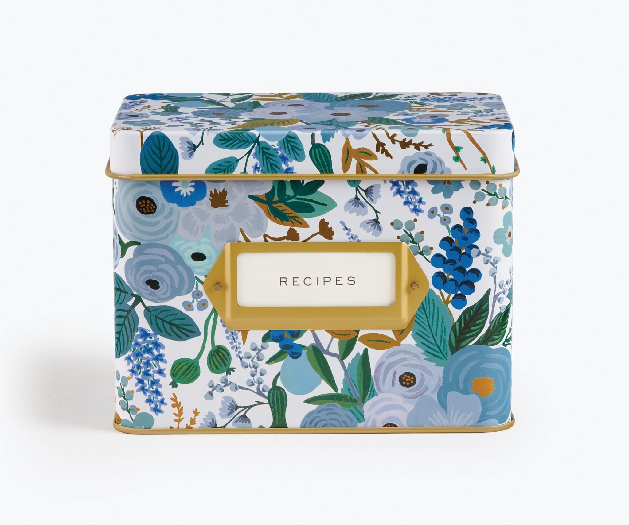 RIFLE PAPER COMPANY'S GARDEN PARTY BLUE TIN RECIPE BOX-1