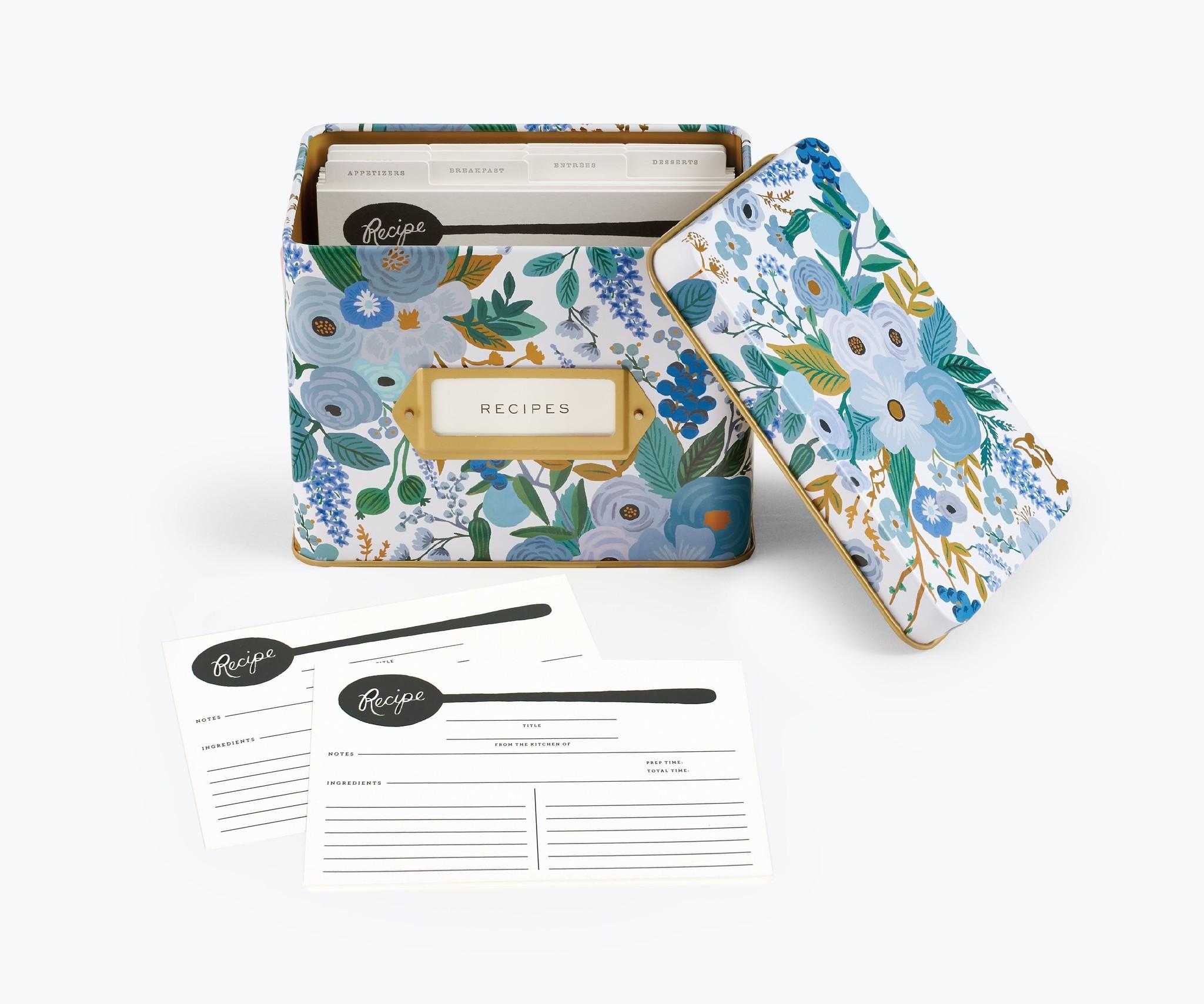 RIFLE PAPER COMPANY'S GARDEN PARTY BLUE TIN RECIPE BOX-4