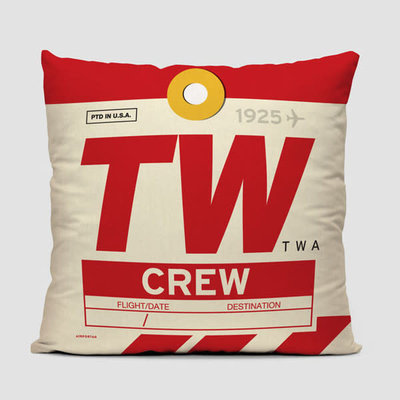TW Crew Tag TWA Pillow Cover