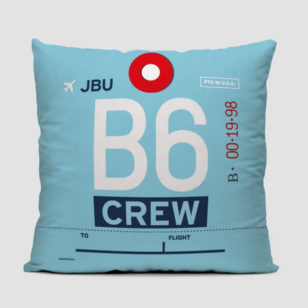 B6 Crew Tag JetBlue Pillow Cover