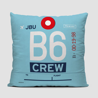 B6 Crew Tag JetBlue Pillow Cover