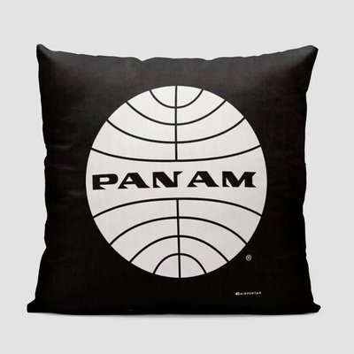 Pan Am Logo Black Pillow Cover