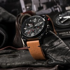 AV-8 HAWKER HUNTER Watch Black Face/Brown Strap