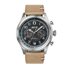 AV-8 FLY BOY Watch Black Face/Beige Strap