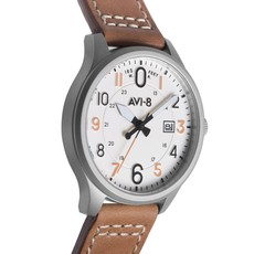 AV-8 HAWKER HURRICANE Watch White Face/Tan Strap