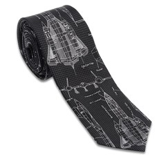 Blackbird Spy Plane Grey and Black Necktie