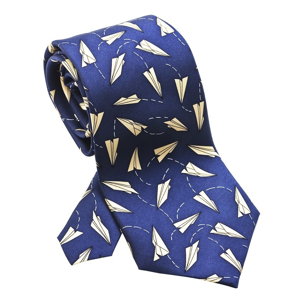 Paper Airplanes Blue and Ivory Necktie