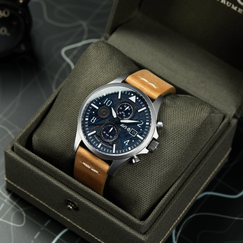 AVI-8 HAWKER HARRIER II Watch  Blue Face/Tan Strap