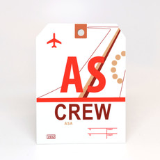 AS CREW Baggage Tag Die-Cut Sticker