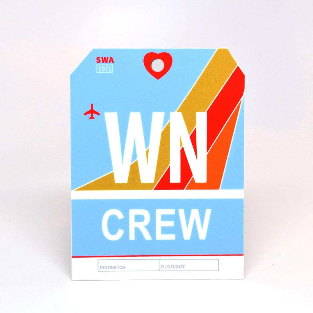 WN CREW Baggage Tag Die-Cut Sticker