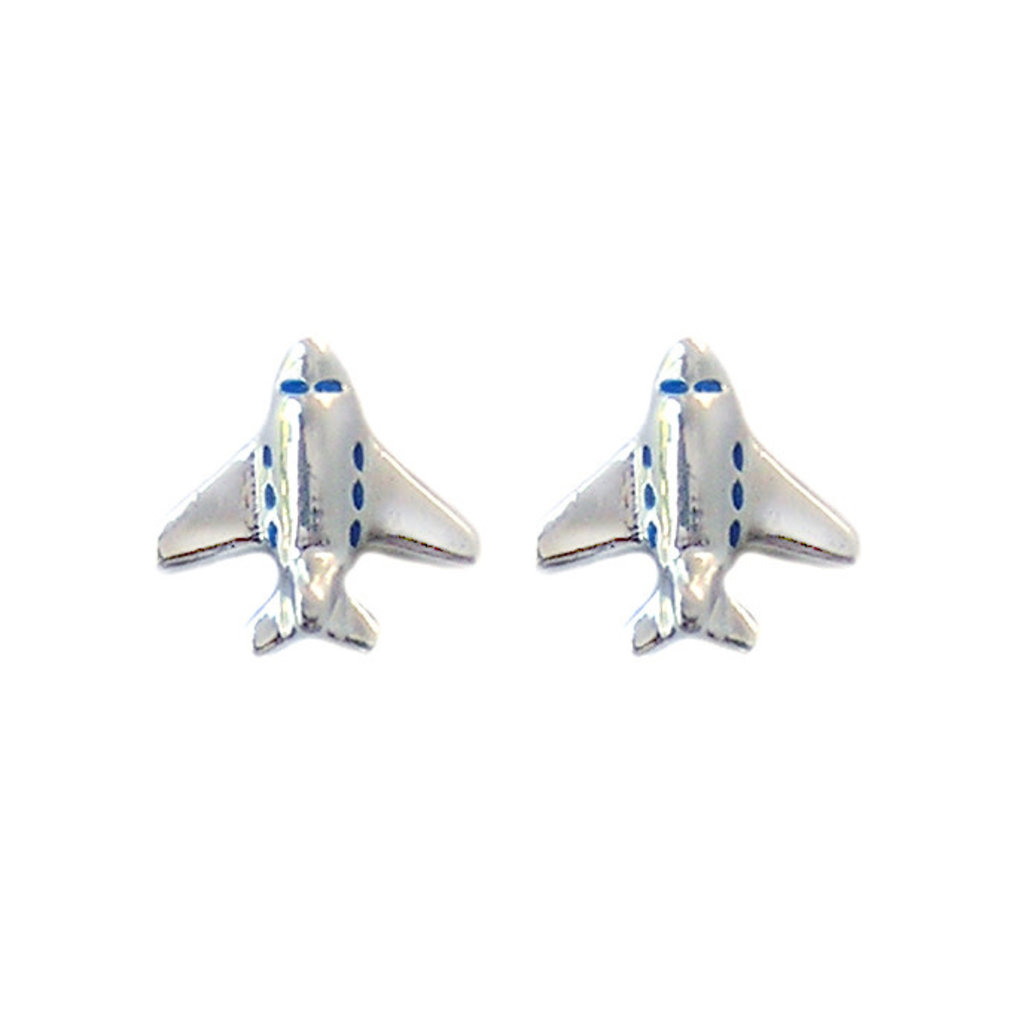 First Class Silver Stud Airplane Earrings
