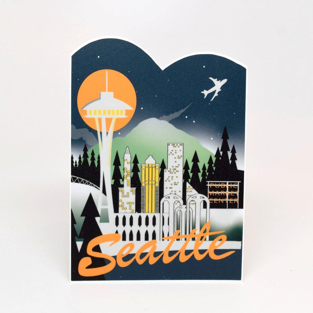 Seattle Retro Skyline Die-Cut Sticker