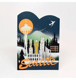 Seattle Retro Skyline Sticker