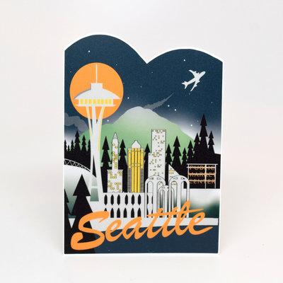 Seattle Retro Skyline Sticker