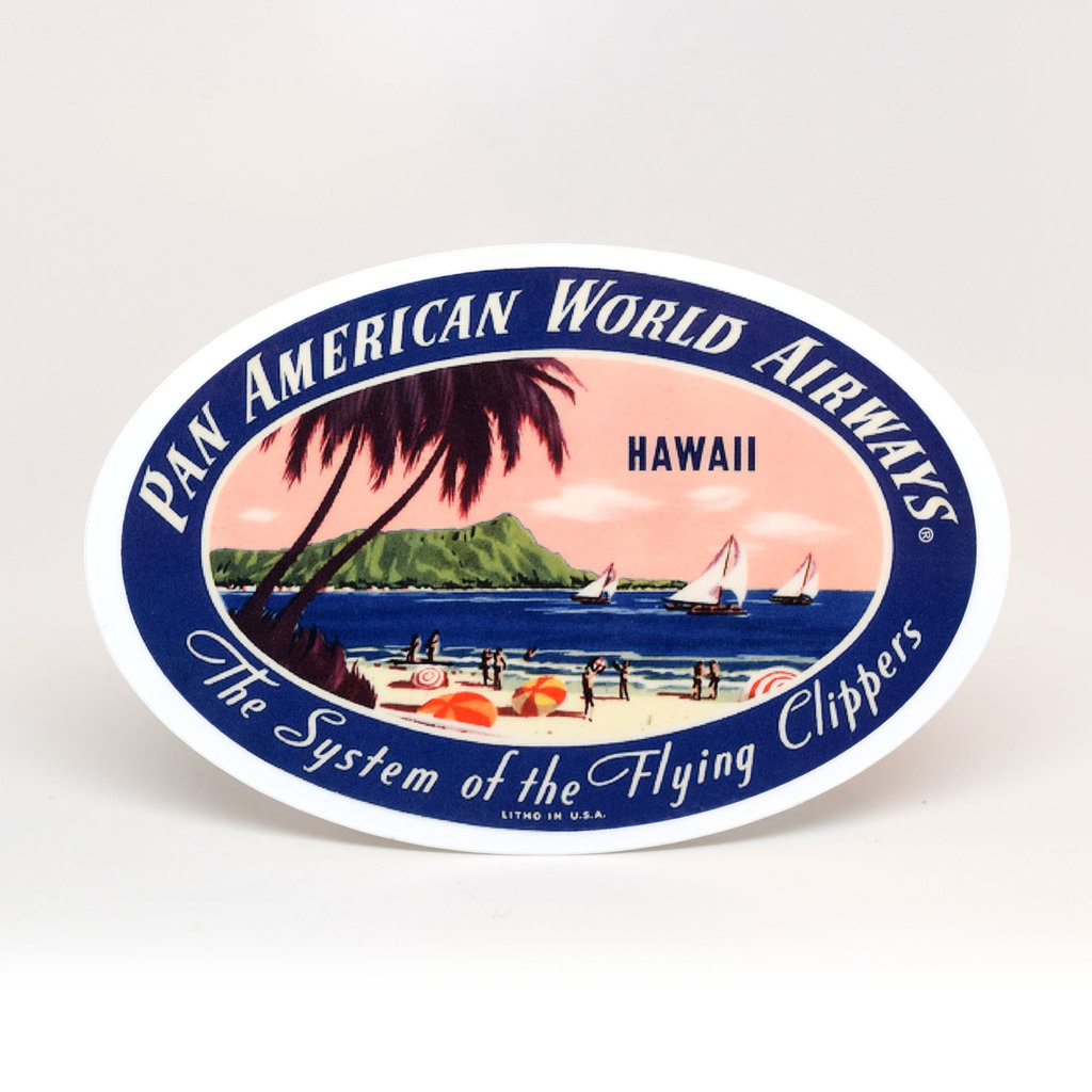 Pan Am Travel Sticker Hawaii Oval