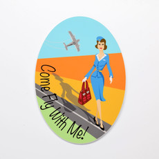 Jenny Jumpseat Come Fly with me Die-Cut Sticker
