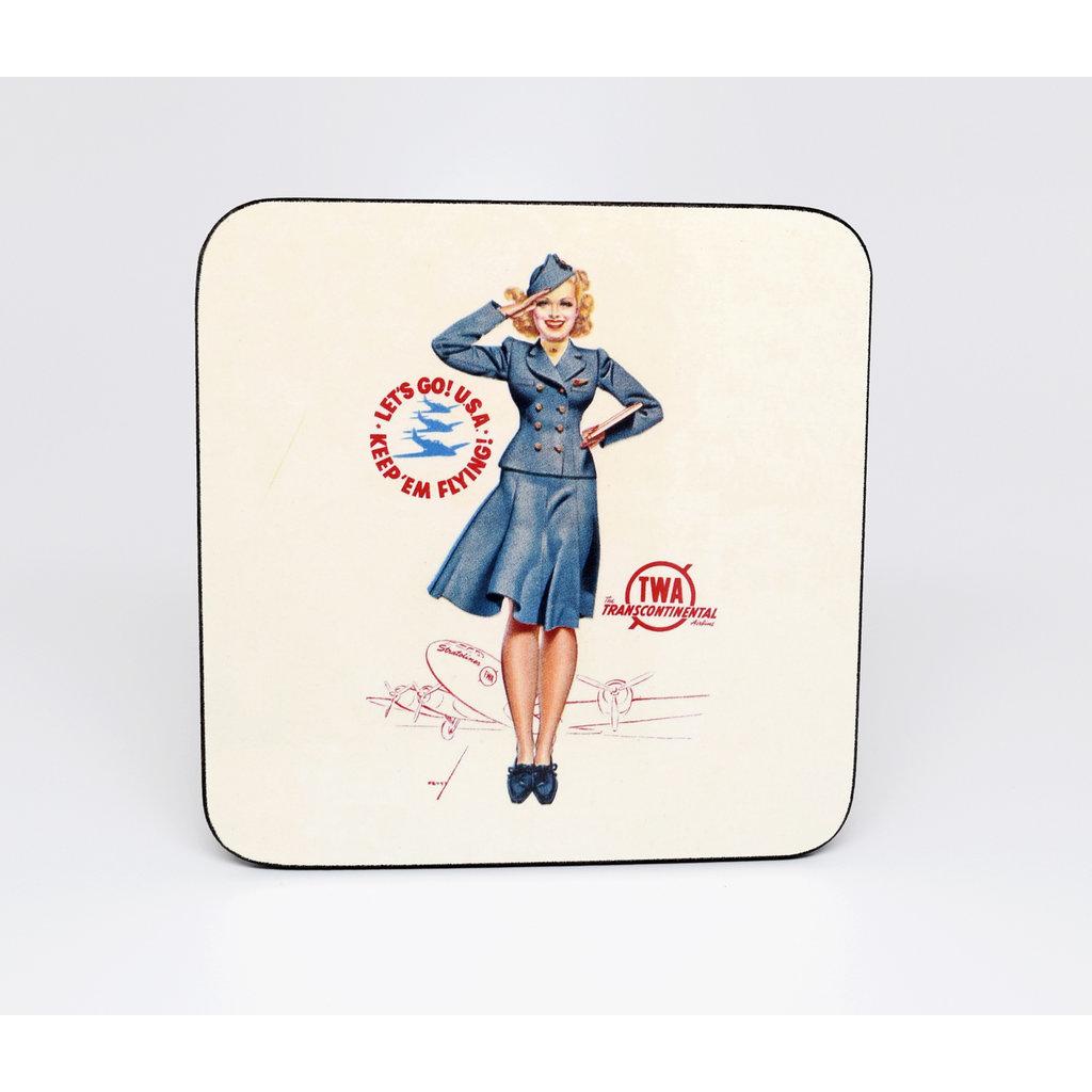 Vintage TWA Pin Up Girl Coaster