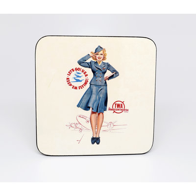 TWA Pin Up Girl Coaster