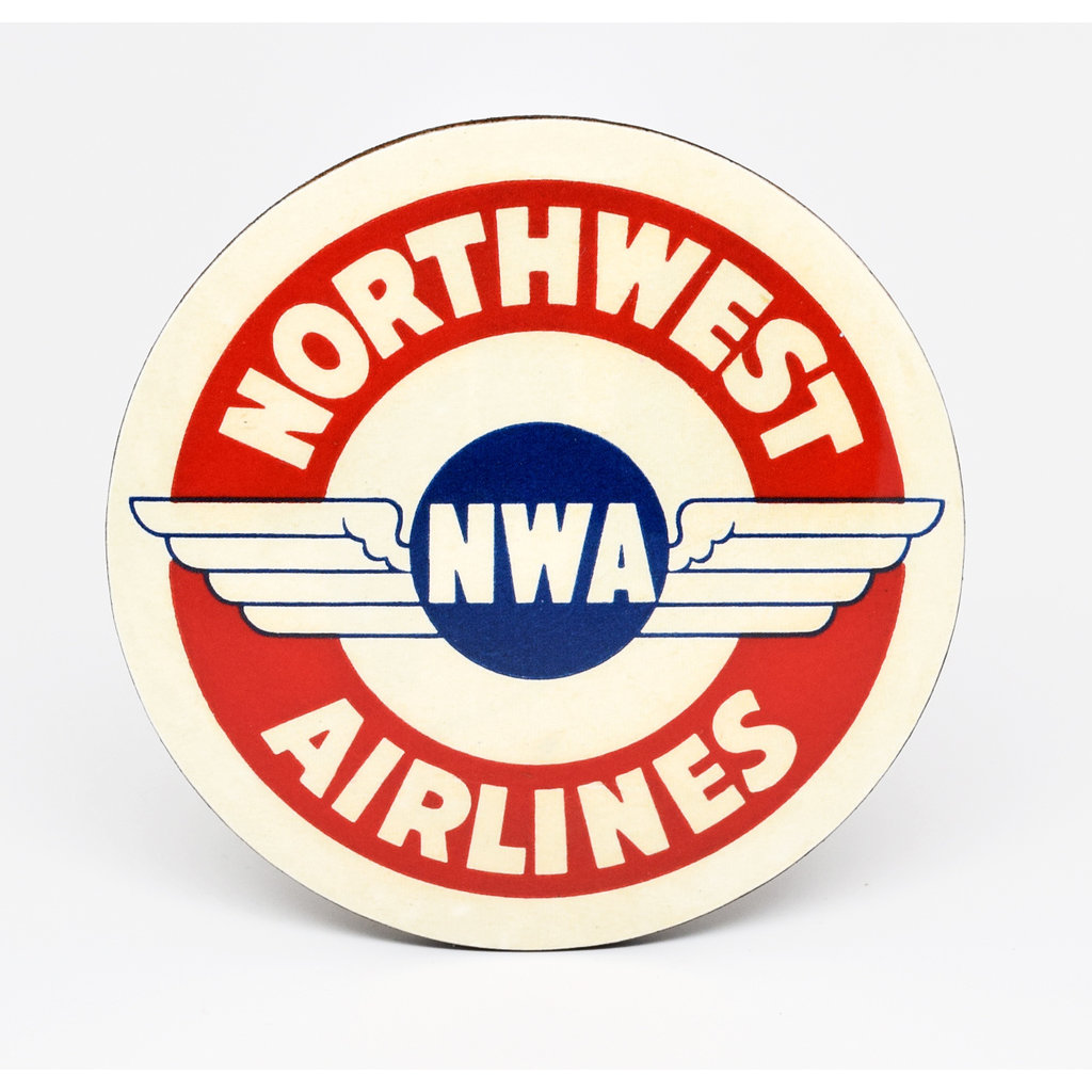 Northwest Airlines Vintage Baggage Sticker Coaster