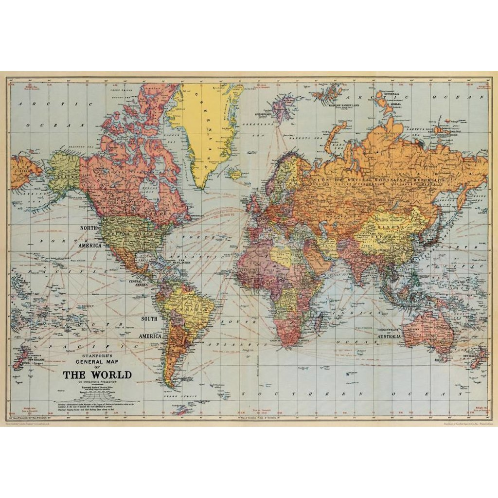 World Map Poster & Wrap