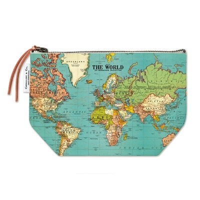 World Map Vintage Pouch
